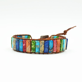 Handmade multi color natural stone tube beads leather wrap bracelet