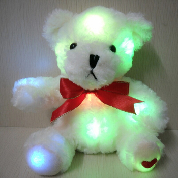 Shiny Light Up Teddy White Bear Plush Toy With Red Ribbon
