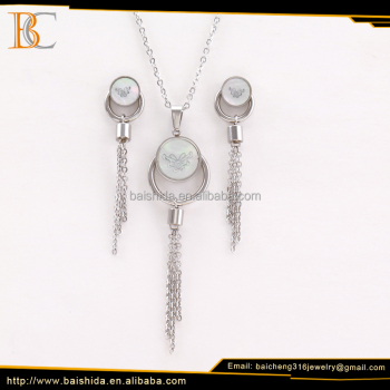 stainless steel jewelry set round butterfly tassel fine jewelry sets with necklace and earrings