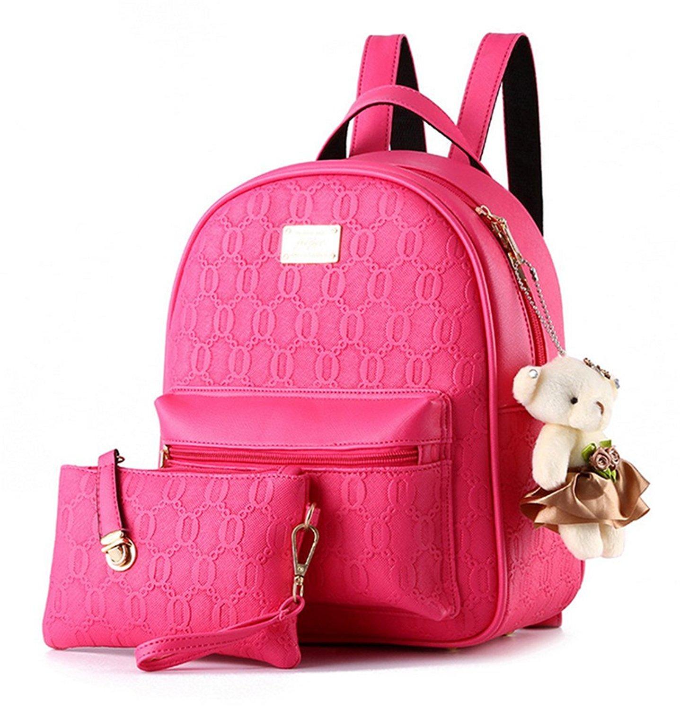 YAAGLE Emboss PU Casual College Shoulder Women Girls Bag With Bear Decorations Backpack+Handbag,2pcs