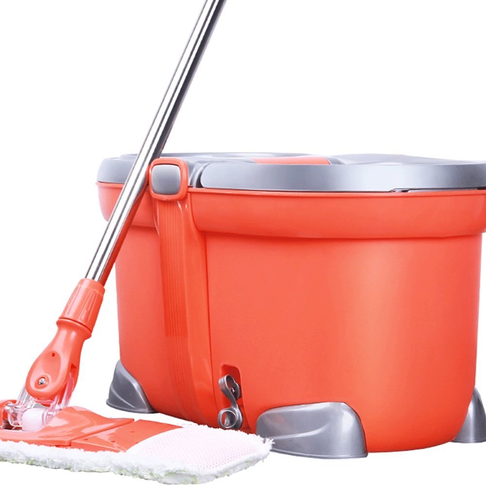 LJHA xuanzhuantuoba Mop And Bucket Set/360° Rotate/Flatbed/Stainless Steel Microfiber/Hand Wash Free/Telescopic/Wash Dehydration Syncretism/Collapsible/Lengthened Mop Orange