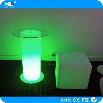 Christmas Ornament LED Glow Cylinder Bar Tables / LED Light Up Glass Bar  Table