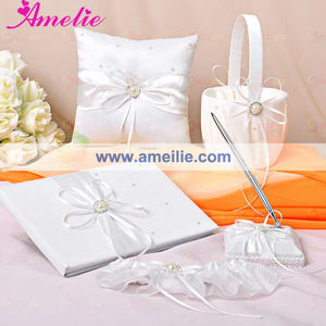 Shine Pearl Decoration of Satin Ring Pillow Set
