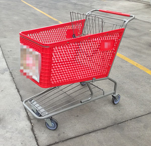 150l Powdered coating rollingf oldng Style Plastic Shopping Trolley Cart