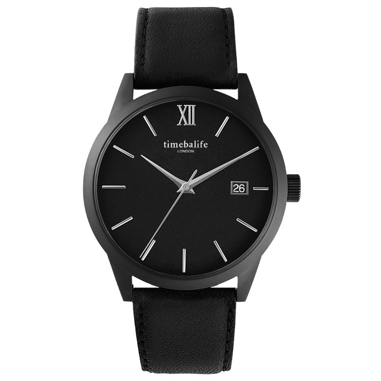 Stainless Steel Back Case Water Resistant Black Color Leather Band OEM ODM For Men Wristwatch
