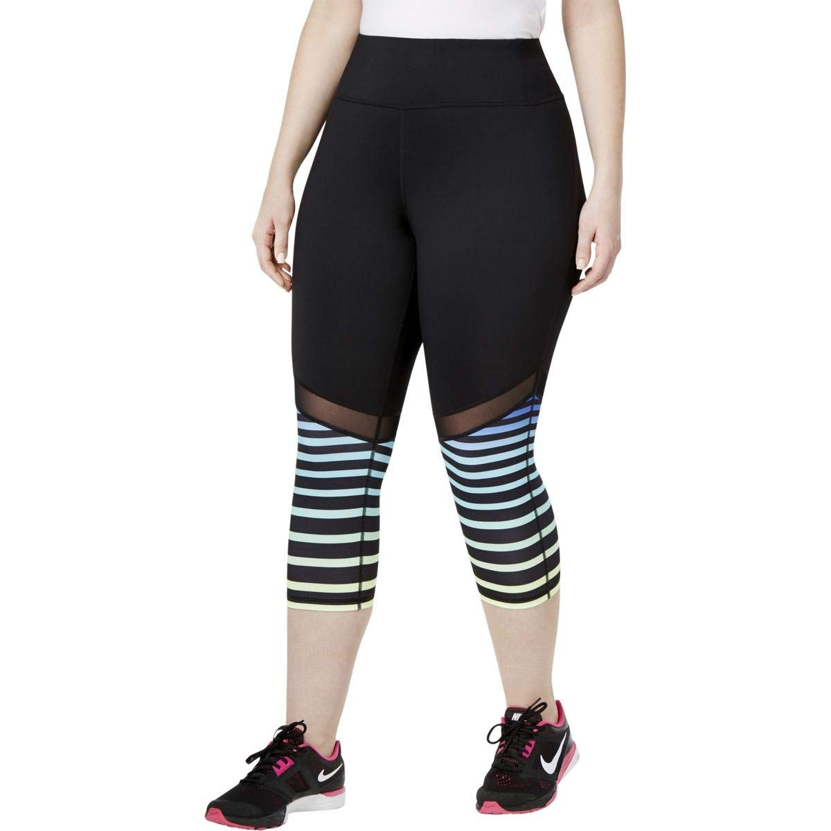 606f123d6692e Get Quotations · Ideology Plus Size Striped Cropped Leggings