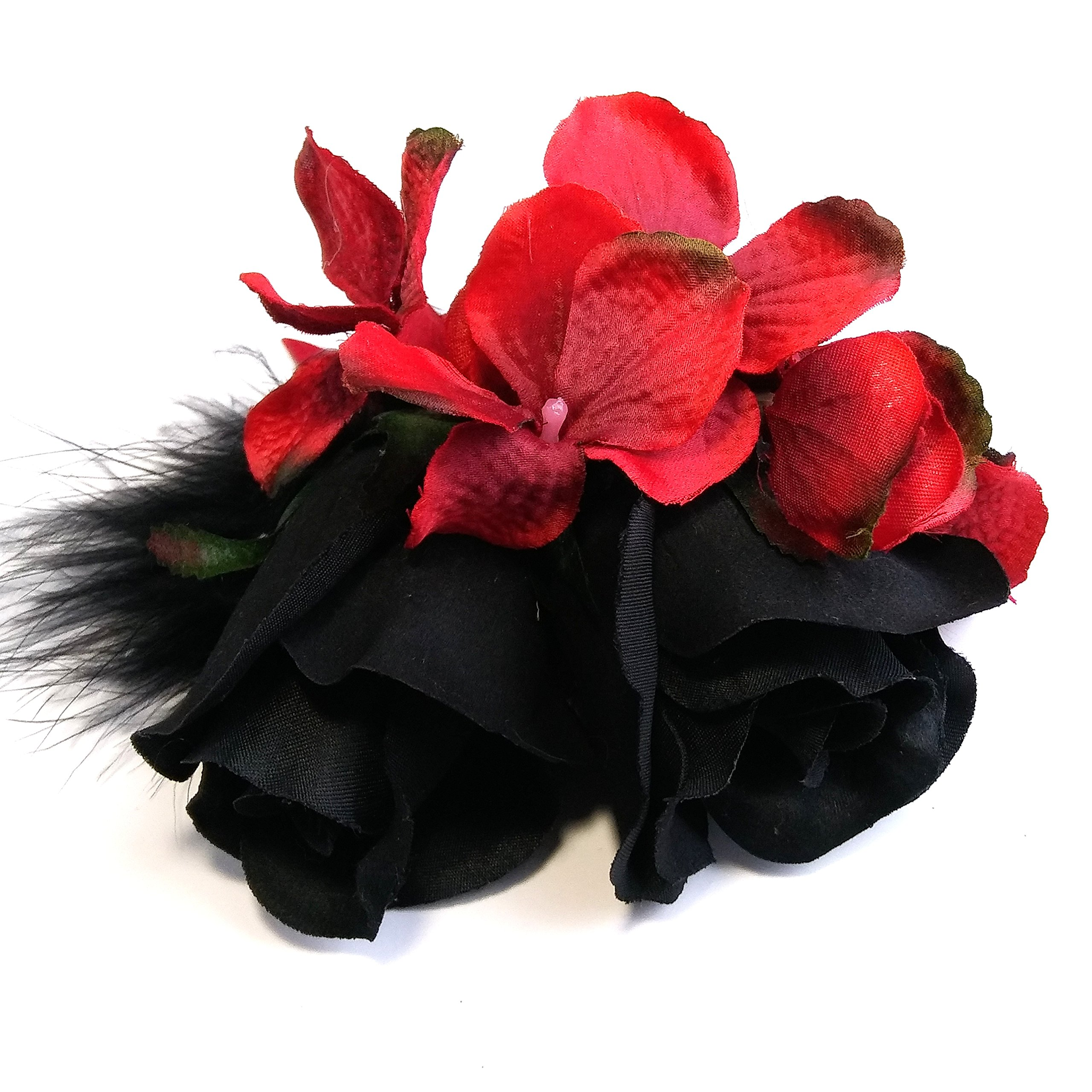 Cheap red rose hair flower find red rose hair flower deals on line get quotations black rose and red flower feather hair clip izmirmasajfo