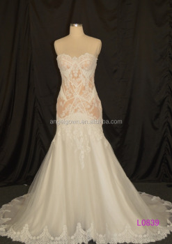 L0839 Fish Style Sweetheart Neckline Dark Ivory Color Modern Design Liqued Lace Wedding Dress