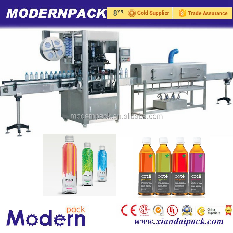 Automatic PVC thermal shrink sleeve labeling machine with 400b/m for plastic bottle