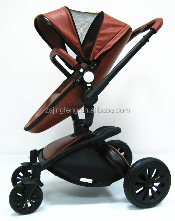 2016 Good Quality Leather Baby Stroller 3 In 1