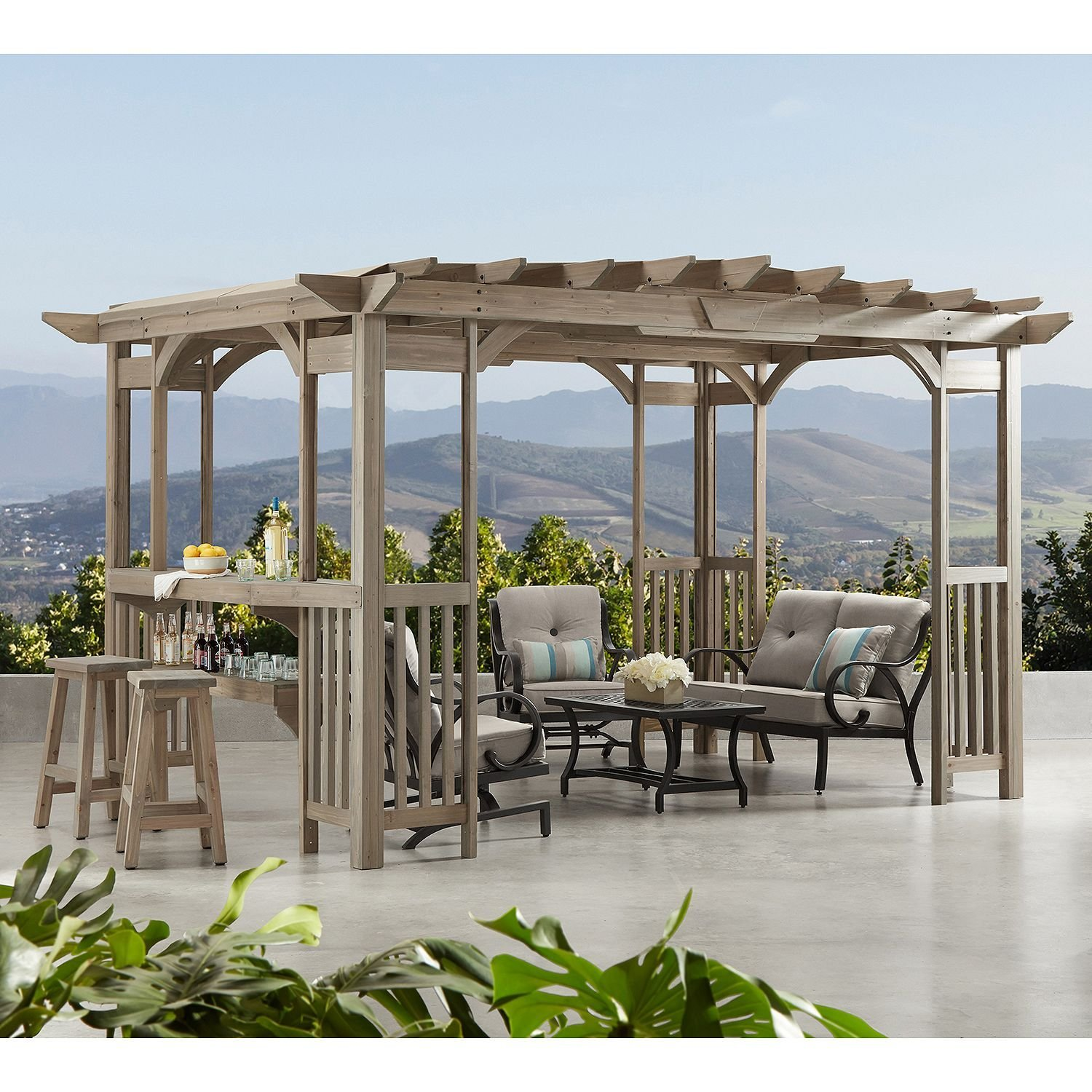Get Quotations · MM Cedar Pergola Gazebo with Bar Counter and Sunshade in  Timber Gray Stain 12' x - Cheap Gazebo Pergola Designs, Find Gazebo Pergola Designs Deals On