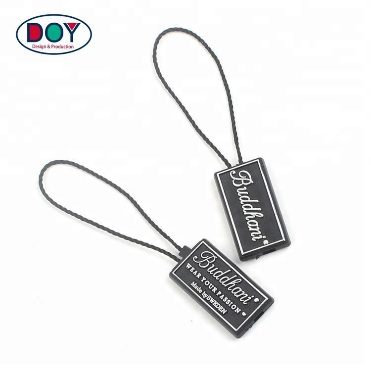 High Quality Custom Own Brand Embossed Logo Plastic Hang Labels Seal Watch Tag with Nylon String