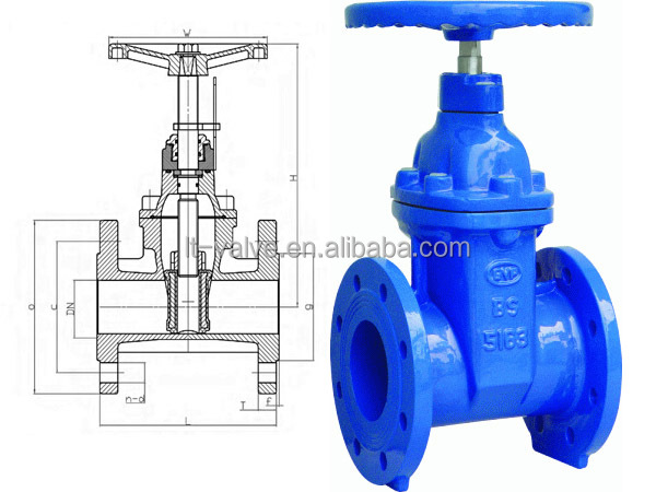 Rubber Seated 4 Inch Gate Valve Non Rising Stem 8 Inch