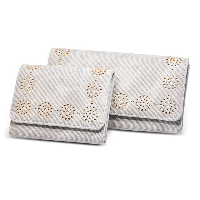 Grey Sun flower hollow out leather mulit color women wallets