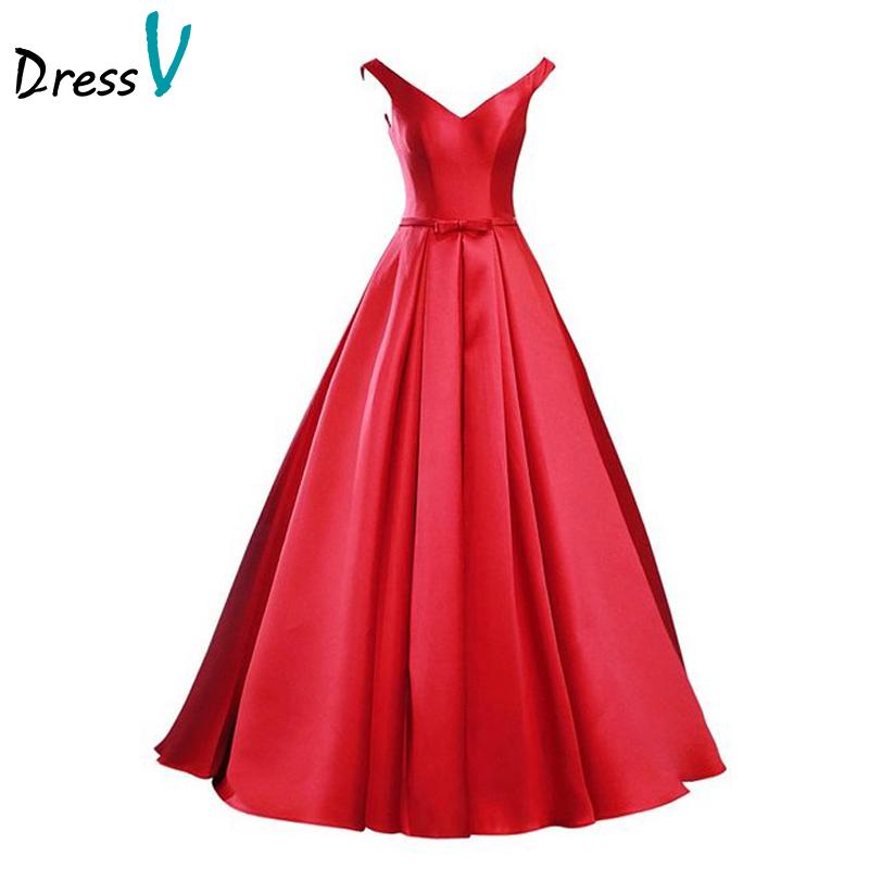 Simple Elegant Long Sleeve V Neck A Line Lace Top Satin: Dressv Elegant Red Matte Satin Long Prom Dress 2016 Simple