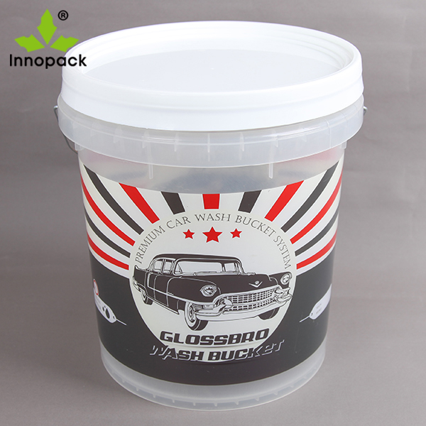 10 liter plastic bucket/Clear printed plastic pail