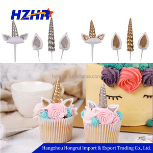 Wedding Party Cake Decoration Mini Unicorn Horn and Ears Cupcake Toppers and Wrappers