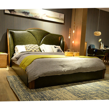Latest Designs High Back Leather Double Bed