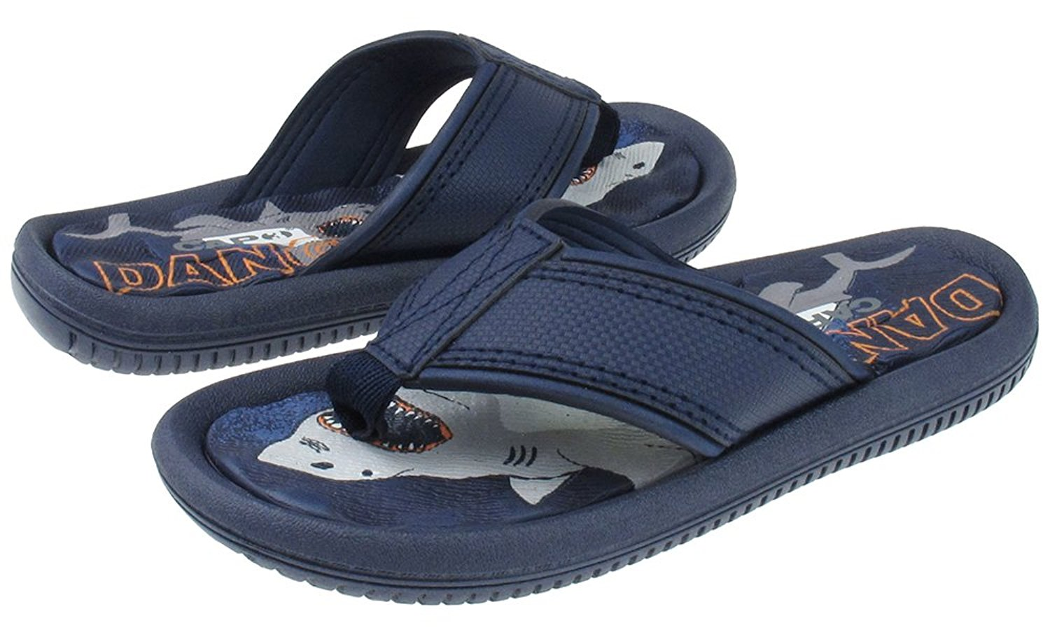 Capelli New York Textured thong with shark danger print Boys Flip Flops