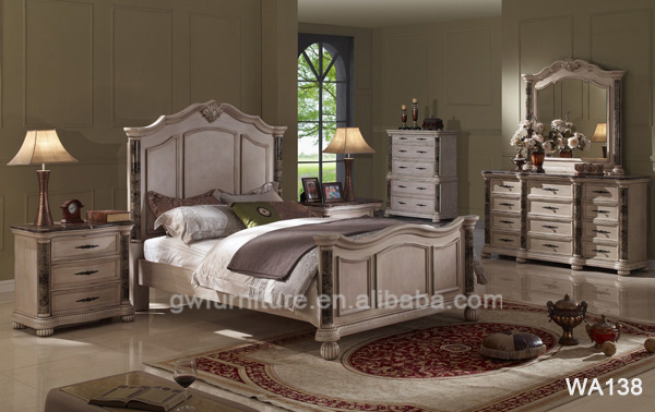 Wholesale Antique white room furniture old white home furniture