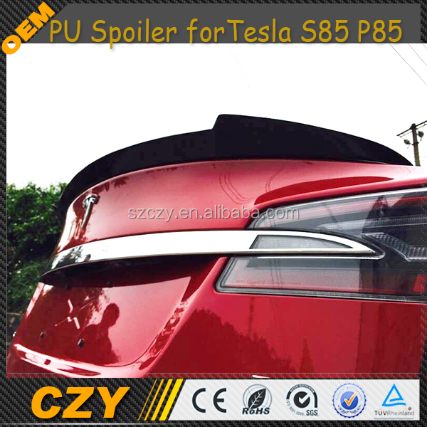 Model S 85 P85 FRP Car Rear Trunk Lip Spoiler for Tesla 2014up