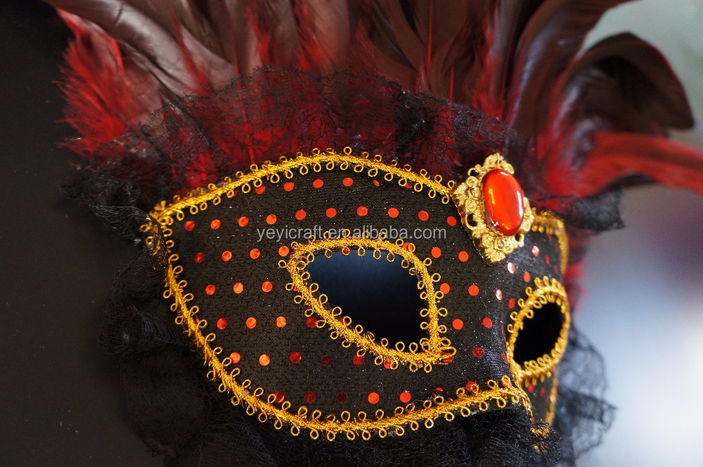 Cheap Mixed Ostrich Feather Mask Masquerade Masks Black Face Mask For Party