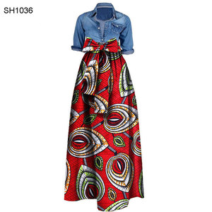 15 colors A-line fashion wax printed maxi dress african women clothing skirts