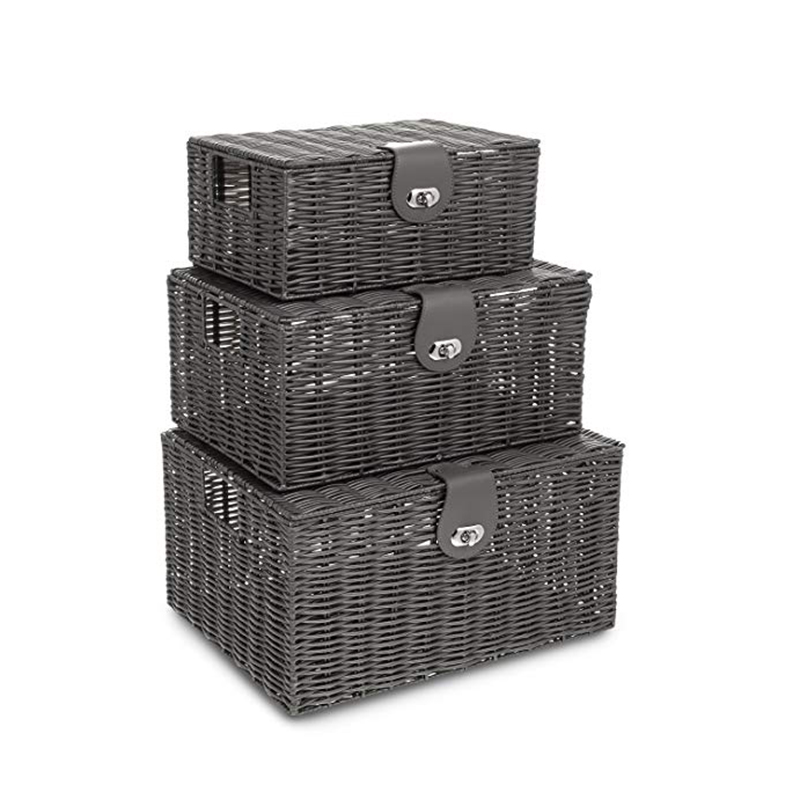 Hampers With Lids White Resin Baskets