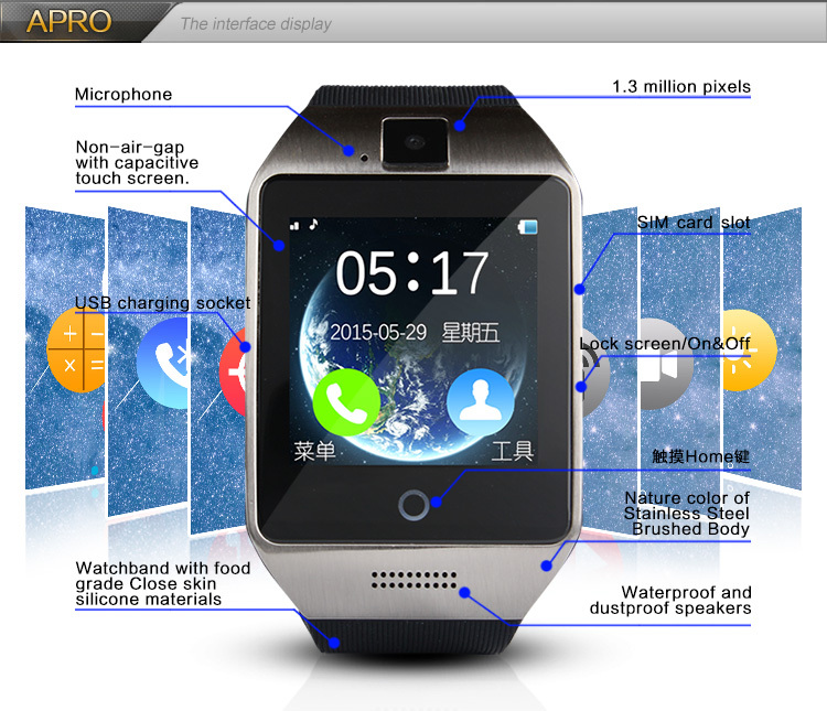 Bluetooth Watch 1.54 Inch SmartWatch Support SIM Card Smartwatch with Camera Wristwatch for Iphone Samsung Android Smartphones