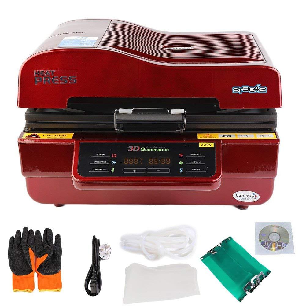 Genuine Store 110V 3D Vacuum Sublimation Heat Press with DVD, Mug Clamp, Mat | High Intelligent Vacuum Transfer Printing Printer Machine Heat Transfer | -0.06~0.07 Pa - 680 x 610 x 370mm