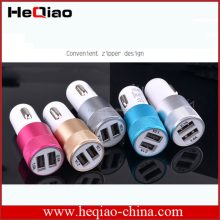 High quality Dual usb ports blue light small steel gun car charger for mobile phone factory price