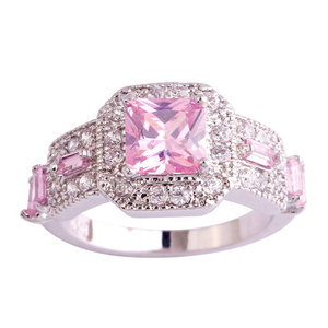 SJAE063 SJ Ally Express Cheap Wholesale Ring Brass White Gold Plated Princess Cut Pink Cubic Zirconia Fashion Finger Ring