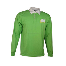 custom cotton long sleeve rugby polo shirt with embroidery logo