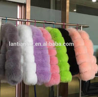 2018 newest colorful european style fox black real fox fur coat for girls
