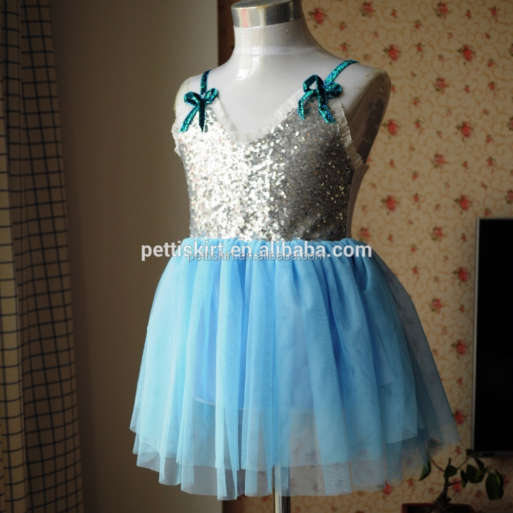 Girls Party Dresses Silver Sequin Frock Chiffon Fabric Dress ...