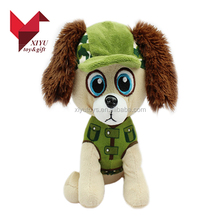 plush stuffed puppy dog plush toy with big eyes and hat
