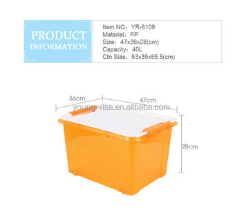 household plastic 40l stackable wheeled plastic lockable storage box for toy
