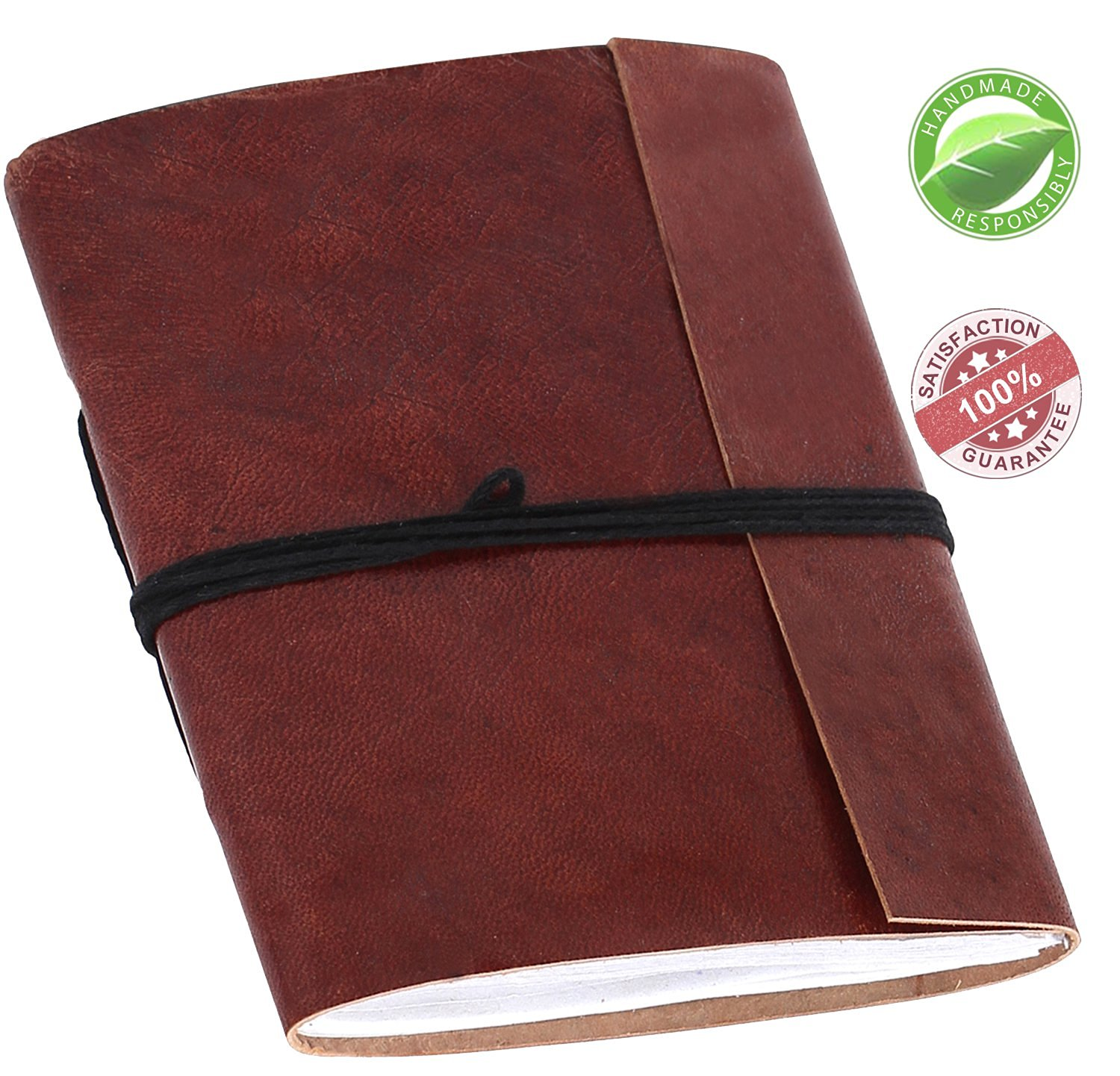 Leather Journal Refillable in Brown - Writing Diary/Notebook - A6 Vintage Genuine/Sketchbook/Scrapbook/Poetry Ethnic Travel Diary to Write in