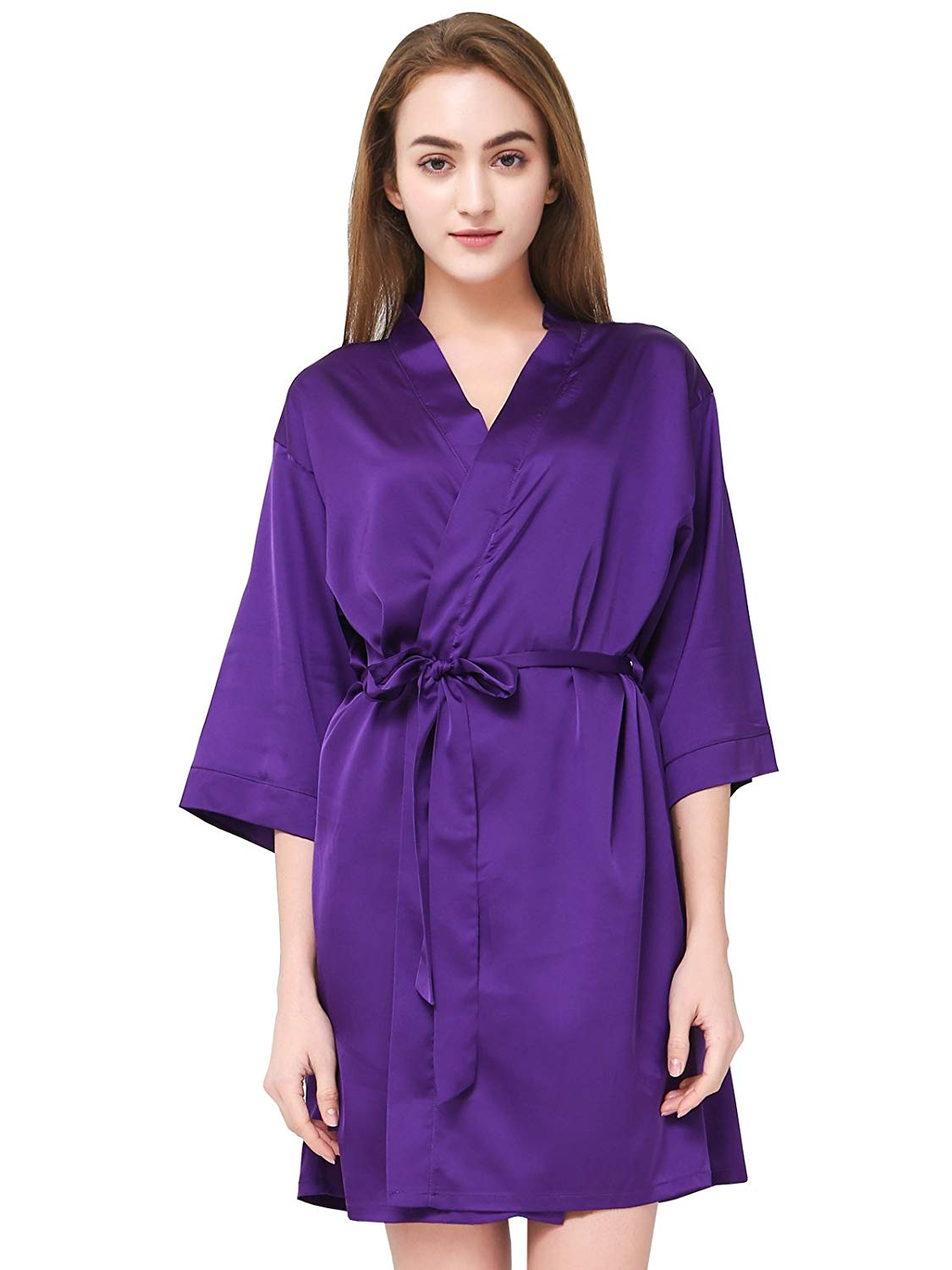 2606d0b64b Get Quotations · PROGULOVER Women s Sexy Satin Kimono Robe for Bride  Bridesmaid Mrs Robe Dressing Gown Spa Robe Bathrobe