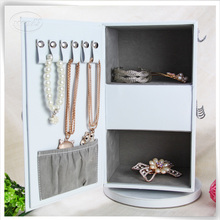 Luxury PU leather chinese storage antique rotating mirrored jewelry cabinet