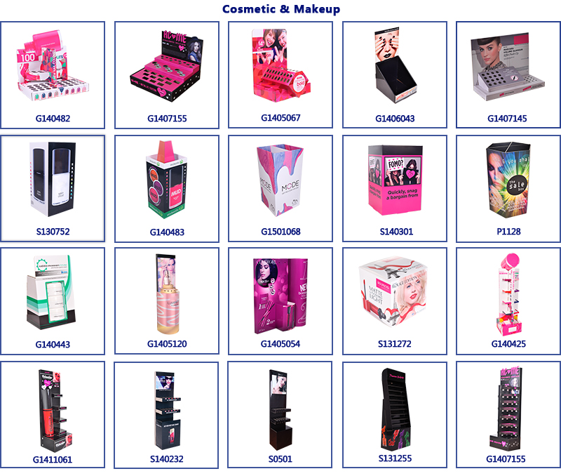 Beautiful Design Custom Corrugated Retail Eyelash Lipstick Cosmetic Cardboard Counter Display Stand