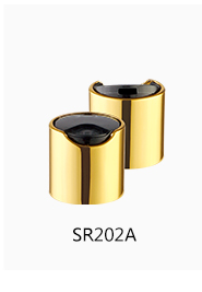Manufacturers direct quality plastic material nonspill feature 24/410 alu gold press top cap