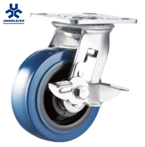 Swivel Trolley Industrial Blue PU Plate Polyurethane Caster Wheels With Side Brake