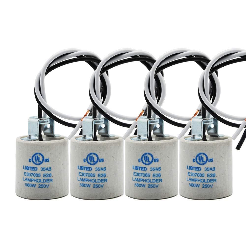 E26 Socket,Ceramic Standard Medimun Screw Socket E26 E27 Bulb Lamp Holder,E26 Light Socket with Wire Lead for Halogen Incandescent LED Light Bulb (4-Pack)