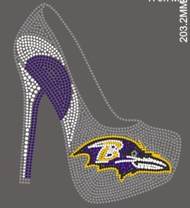 Ravens high heel iron on cheerleading transfers