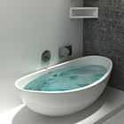 BS-8635 Cheap price Acrylic stone matt white in marble solid resin bathtub