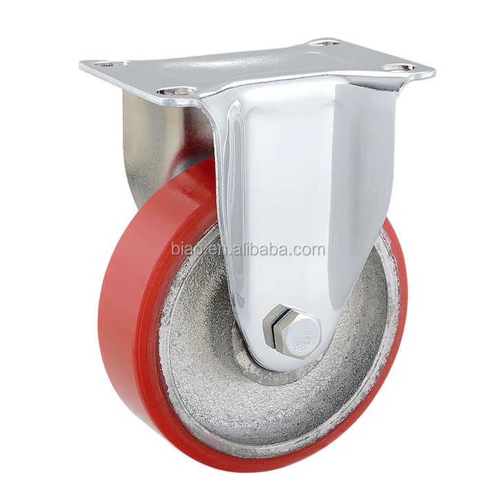 4 inch Medium Duty Iron Core Red PU Caster