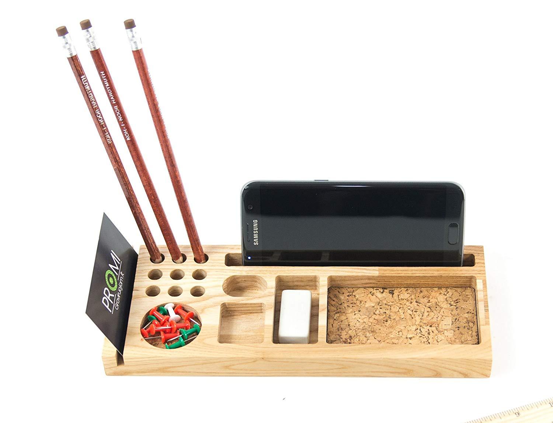 Small Desk Organizer - Wooden Desk Organizer - Wooden Card Holder - Phone Holder - Pen Holder - Office Desk Storage -Tabletop Organizer