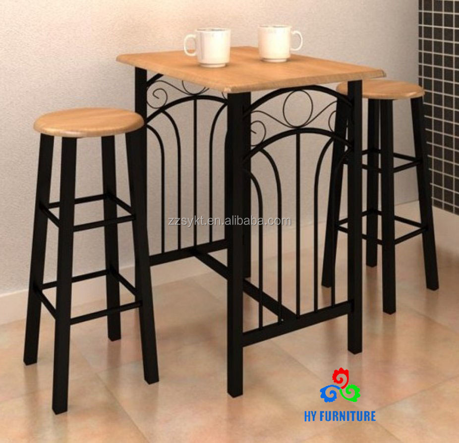 Retro Wooden Top Metal Kitchen Bar Pub Table Furniture Bar Sets Wholesale -  Buy Bar Furniture Sets,Bar High Table And Chair,Bar Table Sets Product on  ...