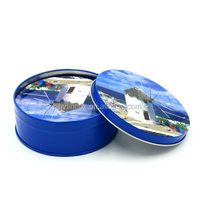 Promotional round metal tin coasters sets with cork bottom